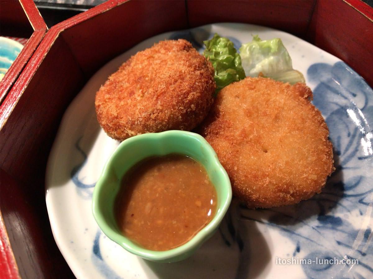 写真:伊都安蔵里 健康御膳のおからコロッケ